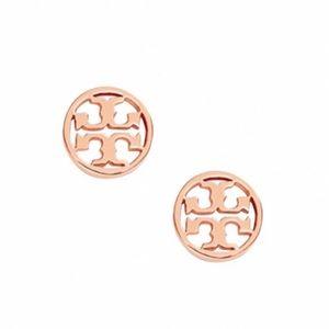 TORY BURCH • Circle Logo Earrings • Rose Gold